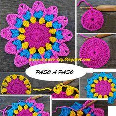 Como tejer tapete crochet paso a paso Drachenleuchter – Mrs. Crochet Coaster Pattern, Crochet Flower Patterns, Doily Patterns, Crochet Motif, Crochet Doilies, Crochet Flowers, Crochet Stitches, Crochet Diy, Crochet Home