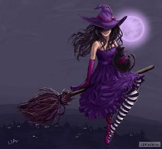 WITCH on broom - moon - purple - black and white striped stockings - black cat