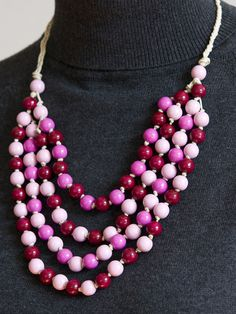 wooden necklace in pink