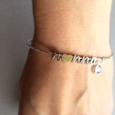 Personalized Bangle Bracelet, Mama Bracelet, Birthstone Bracelet by Tom Design on Etsy. www.tomdesign.etsy.com