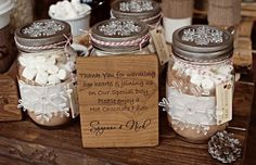 Hot cocoa favors w/ sweet thank you message - might consider this with our favorite coffee instead.