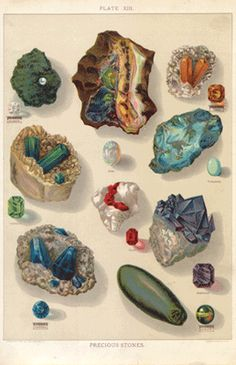 mineral 02-06  Precious Stones  from 1902 Encyclopedia.    295mm×221mm