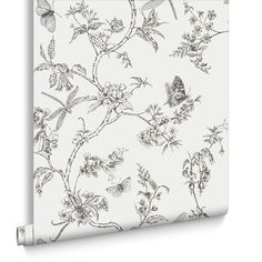 Nature Trail White Mica Wallpaper from the Modern Living Kitchen & Bath Collection by Graham & Brown Grey Floral Wallpaper, Navy Wallpaper, Chinoiserie Wallpaper, Blue Wallpapers, Wallpaper Ideas, Best Removable Wallpaper, Temporary Wallpaper, Kitchen And Bathroom Wallpaper, Magnolia Wallpaper