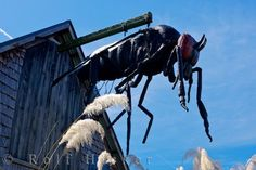 Bushmans Centre Pukekura NZ: The menacing figure of a sandfly sits atop the Bushman's Centre in the town of Pukekura on the West Coast of the South Island of NZ.