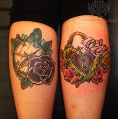 Heart Lock And Compass Tattoos On Calf