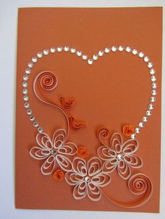 Quilling heart with flowers (orange)