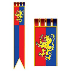 Our Medieval Jointed Pull Down Cutout has the look of a gold lion on a red and blue flag which resemble the flags that decorated the great castle halls in Medieval times.