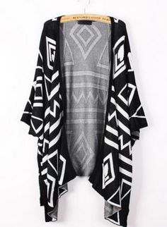 Black & White Geometric Print Cardigan #sweater #Jumper #cute #draped