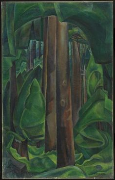 Emily Carr - Inside a Forest II - Canada, Canadian Oil Painting - Group of Seven Framed Art Print by ArtExpression - Vector Blac Vancouver Art Gallery, Art Gallery Of Ontario, Canadian Painters, Canadian Artists, Landscape Art, Landscape Paintings, Tree Paintings, Emily Carr Paintings, Group Of Seven Art