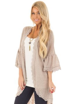 9d0c76941d Lime Lush Boutique - Mocha 3 4 Ruffle Sleeve Cardigan with Sheer Lace  Details