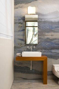 bathroom . marble wall - quartzite aurora blue macaubas from Brazil . gorgeous veining and color . Sara Baldwin, designer
