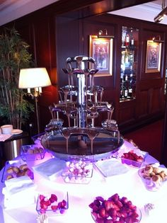 Our chocolate fountain hire starter package which includes everything you need to have the chocolate fountain at your event. Includes fruit, marshmallows, wafer sticks and 2 flavours of chocolate to get the party started.