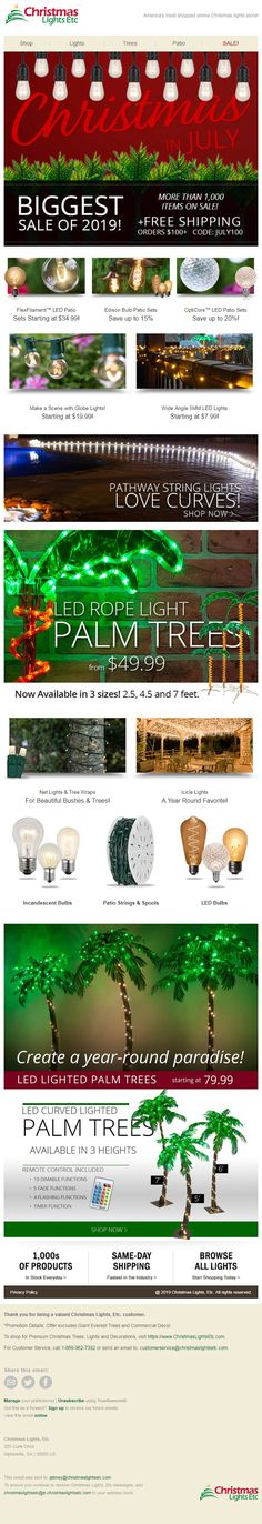 Design 05 of Christmas In July, Christmas Lights, Led Rope Lights, Palm Trees, How To Find Out, Design, Christmas Fairy Lights, Palm Plants, Led String Lights