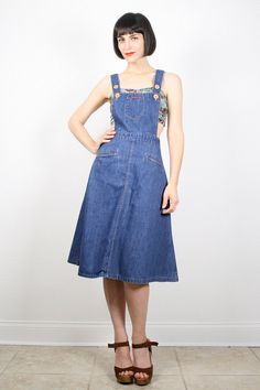 Vintage Overalls Dress Open Back Overall Jean by ShopTwitchVintage