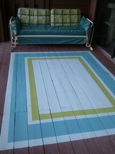 40 Stunning Painted Floor Tiles For Patio Decor Ideas - HOOMDESIGN Getting a fresh out of the box new search for your patio has never been simpler. Patios are normally utilized as zones for individual unwinding and diversion, or in some [Continue Read] Painted Porch Floors, Porch Paint, Porch Flooring, Painted Rug, Painted Decks, Painted Patio Furniture, Painted Floor Cloths, Garden Furniture, Hand Painted