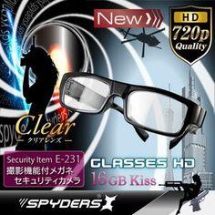 最新!超小型カメラ最前線: メガネ型超小型ビデオカメラ スパイカメラ スパイダーズX (E-231) クリアレンズ 720P セ...