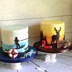 Birthday cakes for dad! Water ski boater silhouette cake and hunter silhouette cake both are watercolor painted buttercream