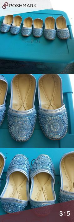 Gir'ls Indian shoes Blue with blue sequins and beads . Leather Made in INDIA  Shoes Slippers