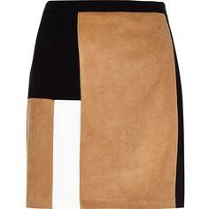 River Island Tan block panel mini skirt ($39) ❤ liked on Polyvore featuring skirts, mini skirts, bottoms, panel skirt, tall skirts, short skirts, mini skirt and block print skirts
