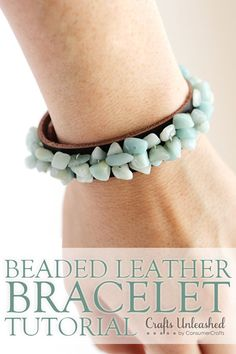 Natural cut stones are all the rage but can be quite pricey. Save some money and make your own beaded leather bracelets for women with this tutorial!