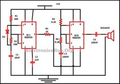 Led flasher circuit electronics pinterest circuits circuit diagram of police siren using 555 timer this circuit produces a sound similar to asfbconference2016 Gallery