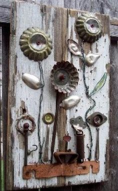 Salvage Garden is an assemblage of reclaimed antique and vintage