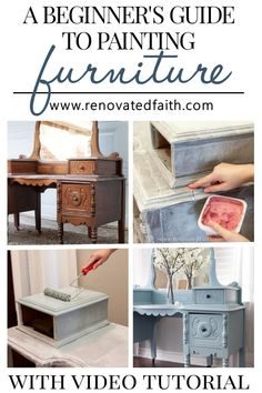 How to Paint Furniture for Beginners (Vintage Vanity Makeover)Beginner's Guide to Furniture Painting - The RIGHT way to refinish furniture! With this vintage vanity makeover, I show you my best DIY tips, tricks & ideas Diy Furniture Redo, Chalk Paint Furniture, Diy Furniture Projects, Refurbished Furniture, Repurposed Furniture, Furniture Decor, Farmhouse Furniture, Laminate Furniture, Furniture Refinishing
