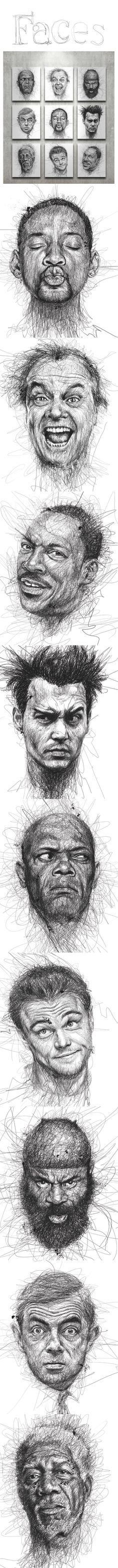 Faces by Vince Low - what a cool way to draw with pen.