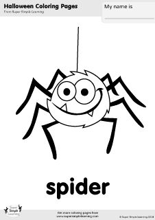 Free Spider Coloring Page From Super Simple Learning Tons Of Halloween Worksheets Flashcards