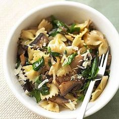 Farfalle with Mushrooms and Spinach From Better Homes and Gardens, ideas and improvement projects for your home and garden plus recipes and entertaining ideas.