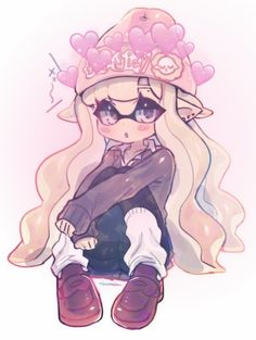 This is Mira-Lynn. She's an inkling who likes to hang out at nightclubs. She often gets into trouble and runs away from it, too. Her rebellious personality can sometimes be a bit of a problem. Her favorite weapon is the Blaster. Splatoon 2 Art, Splatoon Comics, Splatoon Games, Nintendo Splatoon, Character Inspiration, Character Art, Fan Art, Video Game Art, Cartoon Art