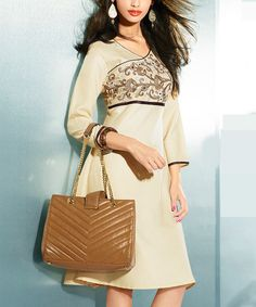 Look at this Chiro's Beige Embroidered Pashmina-Blend A-Line Dress on #zulily today!