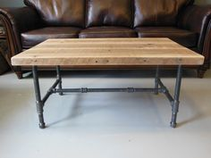 Reclaimed Wood Coffee Table With Industrial Pipe Legs door DendroCo