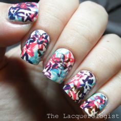 Bright and Messy Fall Floral Nails