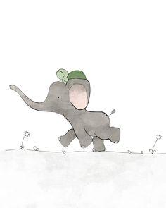 Elephant and Turtle Nursery Art Print - Safari Kids Room, Elephant Drawing, Kids Wall Art, Green and Grey by LowerWoodlandStudio on Etsy https://www.etsy.com/ca/listing/261666635/elephant-and-turtle-nursery-art-print