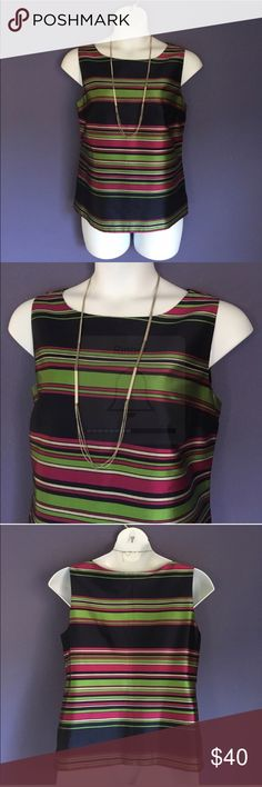 """Talbots Striped Sleeveless Blouse Amazing!   This vibrant top will put you in a great mood!   Pair with a blazer or wear alone. zipper on left side.  Material:  100% Polyester.  Measurements (Flat): Length - 24""""/Bust - 24""""/Waist - 20.5"""" Talbots Tops Blouses"""