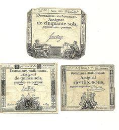 Assignat Set:  3  French Revolution  ASSIGNATS 1792-93