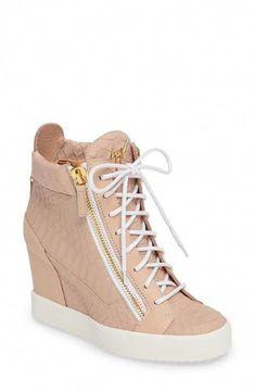 Giuseppe Zanotti Ofelia Wedge Sneaker In Rosa Wedge Heel Sneakers, Sneakers Mode, Sneaker Heels, Wedge Shoes, Shoes Sneakers, Pretty Shoes, Cute Shoes, Me Too Shoes, Fashion Heels