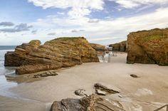 Famous Spanish destination, Cathedrals beach  playa de las catedrales  on Atlantic ocean