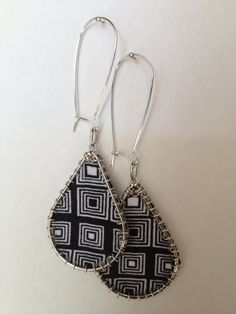 Fabric Print dangly button earrings Wire Stitched by ThriftyUpenyu, $10.00   fabric jewelry, diy jewelry, jewelry ideas, handmade jewelry, African fashion, Africa