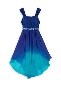 Tween Diva by Rare Editions Lace to Chiffon Dip Dye Dress Girls 7-16