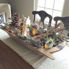 Doughbowl centerpiece for Christmas
