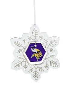 Loving this Minnesota Vikings Glass Snowflake Ornament on #zulily! #zulilyfinds