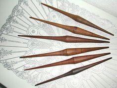 French handspindles Quenouilles Anciennes Fuseaux Bois XIX° Filage de la Laine