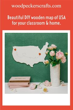 """MAP OF USA CUTOUTS ... that WON'T give you splinters. Enjoy effortless crafting with our always pre-sanded craft wood shapes. Our cut out shapes are crafted from top-quality Baltic birch plywood, and are a sturdy 1/4"""" thick.USE YOUR WOOD CUTOUTS FOR CRAFTS! - Give your classroom & home a beautiful summery vibe with a DIY wooden map of usa door hanger, wall hangings, lawn signs (seal to make your craft waterproof), displays, and bulletin boards. Craft it, and then display it- proudly! Map Crafts, Wooden Crafts, Wood Burning Tool, Wooden Map, Wooden Cutouts, Cut Out Shapes, Baltic Birch Plywood, Easy Woodworking Projects, All Craft"""