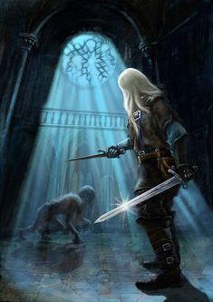 m Ranger Med Armor Sword Dagger ruins witcher by ~andreiha on deviantART Witcher 3 Art, The Witcher Game, The Witcher Geralt, The Witcher Books, Witcher 3 Wild Hunt, Medieval Fantasy, Dark Fantasy, Fantasy Art, Fantasy Wizard