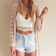 No. 11 || Summer on my mind and light in my clothes: white lace undervest, lace peach jumper, tribal necklace and light denim shorts