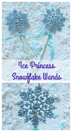 Ice Princess Snowflake Wands are a pretty DIY for winter or Frozen parties or winter play!