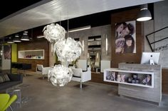 reception area, glass lighting fixture