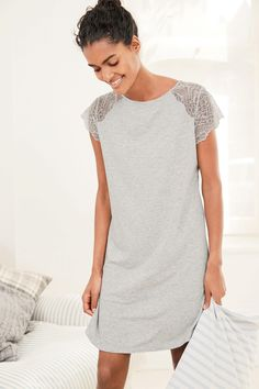 Buy Grey Lace Detail Night Dress from the Next UK online shop Women's Sleep Shirts & Nightgowns, Trendy Fashion, Fashion Outfits, Fashion Ideas, Cute Pajama Sets, Cotton Sleepwear, Vestido Casual, Pretty Lingerie, Lifestyle Clothing